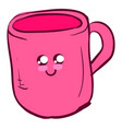 cute pink cup on white background vector image vector image