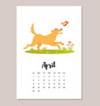 dog 2018 year calendar page vector image vector image