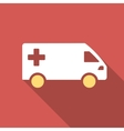 Emergency Van Flat Square Icon with Long Shadow vector image vector image