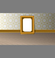 empty golden horizontal picture frame on a white vector image