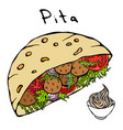 Falafel pita or meatball salad in pocket bread and vector image