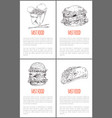 fast food hamburger poster set vector image