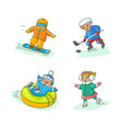 flat kids doing winter outdoor sport set vector image
