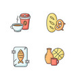 foods and goods rgb color icons set vector image vector image