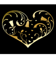 Gold heart with floral decorations vector image