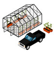 greenhouse at an organic farm vector image