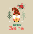 greeting card with christmas gnome vector image vector image