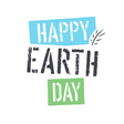Happy Earth Day lettering with Leaf Symbol vector image vector image