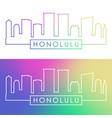 honolulu skyline colorful linear style editable vector image vector image
