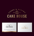 logo cake pastry gold bakery business card vector image vector image