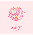 logo ice cream pink three scoops vector image vector image