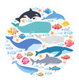 marine mammals and fishes set in circle narwhal vector image vector image