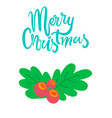 merry christmas postcard branch of mistletoe tree vector image