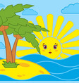 palm trees and sunrise of the cartoon sun on the vector image vector image