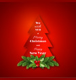 paper fir-tree with christmas decorative fir vector image vector image