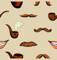 pattern with mustache and pipe vector image vector image