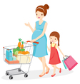 Pregnant Mom And Daughter Shopping Together vector image vector image
