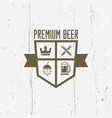 premium beer shield isolated vintage label vector image vector image