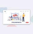 pyelonephritis landing page template tiny doctors vector image