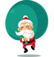 santa claus with a big bag of presents cart vector image vector image