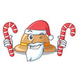 santa with candy cork hat in a cartoon style vector image vector image
