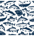 sea and ocean fishes seamless pattern background vector image vector image