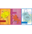 set of cards with flowers vector image