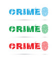 set of crime fingerprint on white background vector image