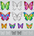 set of different colored butterflies vector image vector image