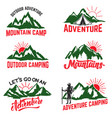 set of mountain camping badges isolated on white vector image vector image