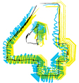 Sketch font Number 4 vector image vector image