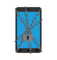 smartphone protection chain and lock on phone vector image vector image