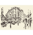 Streets Paris France vintage drawn vector image vector image