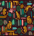 vector seamless pattern with leopards and abstract vector image vector image