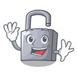 waving cartoon unlocked padlock on the table vector image