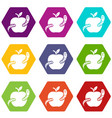 worm apple icons set 9 vector image vector image