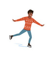 young african american man ice skating vector image vector image
