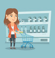 young caucasian woman with a supermarket trolley vector image vector image
