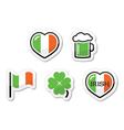 St Patricks Day icons - irish flag clover green vector image