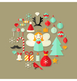 Christmas Flat Icons Cute Set Over Light Brown vector image