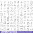 100 network icons set outline style