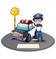 A police officer beside his patrol car vector image vector image