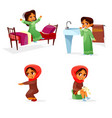 arab girl daily morning routine activity vector image vector image