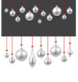 background with silver christmas balls vector image vector image