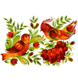 Bird viburnum and flower vector image vector image