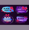 black friday sale labels with captions promotion vector image vector image