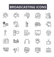 broadcasting line icons for web and mobile design vector image