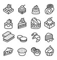 cake dessert bakery icon set in thin line style vector image vector image