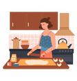 cheerful female character preparing dough use vector image