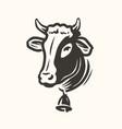 cow head portrait logo dairy farm fresh milk vector image